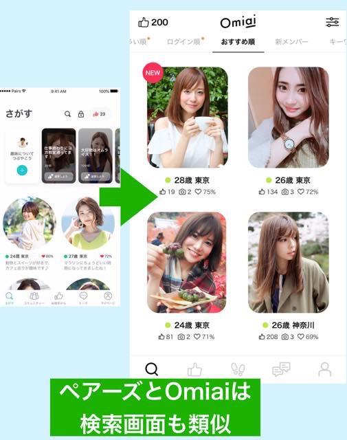 ペアーズの類似アプリはOmiai